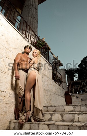 a pair on stairs - stock photo