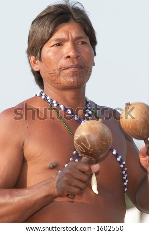 A Pajaro Jai tribesman from the rainforest in Panama. - stock photo