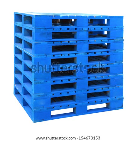 A pallet is a flat transport structure that supports goods in a stable fashion while being lifted by a forklift, pallet jack, front loader, work saver or other jacking device - stock photo
