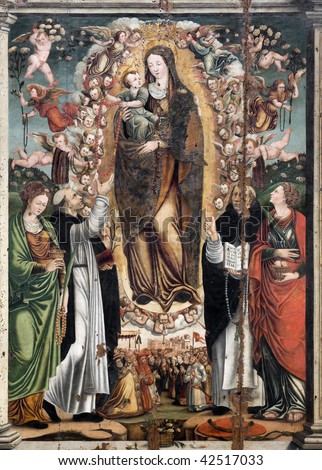 A panel painting of The Madonna with little jesus christ, Angels, Saints - Italy - sicily - seventeenth century - stock photo