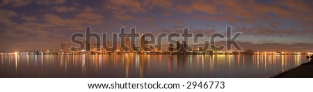 A panorama of downtown San Diego in early dawn - stock photo