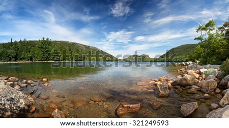 A panorama of Jordan Pond, Acadia National Park, Mount Desert Island, maine, USA - stock photo