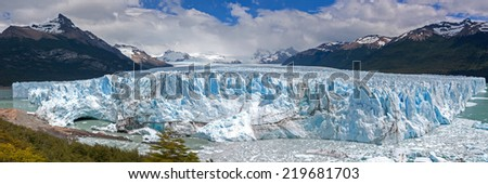 A Panorama of Perito Moreno Glacier near El Calafate, Argentina. - stock photo
