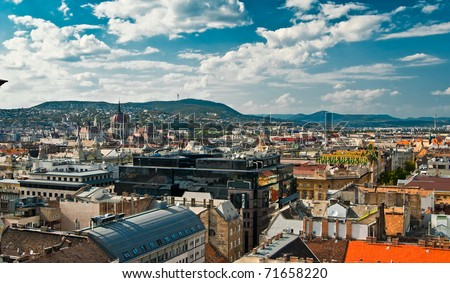 A panorama over Budapest city, capital of Hungary - stock photo