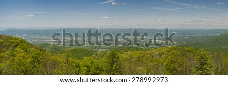 A panorama shot of the Blue Ridge Mountains  - stock photo
