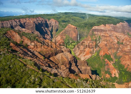 A panoramic aerial view of Waimea Canyon in Kauai, Hawaii - stock photo