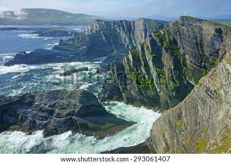 A panoramic and stunning view of the Kerry Cliffs, The Ring of Kerry, Ireland - stock photo
