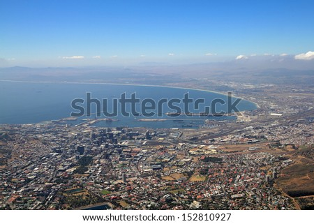 A panoramic view of Cape Town, South Africa ( seen from the top of Table Mountain) - stock photo