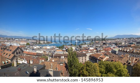 A Panoramic View of Geneva and Lake Leman - stock photo