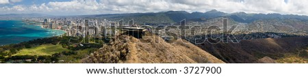 A panoramic view of Honolulu as seen from the Diamond Head lookout. - stock photo