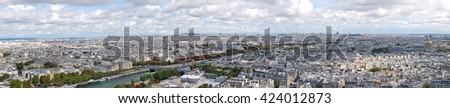 A panoramic view of Paris from the Eiffel Tower - France - stock photo