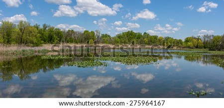 A panoramic view of the John Heinz National Wildlife Refuge at Tinicum Pennsylvania. - stock photo