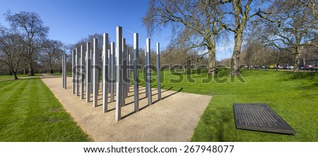 A panoramic view of the Memorial in Hyde Park in memory of the victims of the 7th July London Bombings. - stock photo
