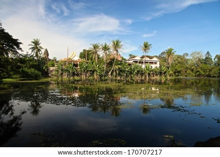 A panoramic view of the monastery near the ruins of Bakong, Angkor Wat, Siem Reap, Cambodia. - stock photo