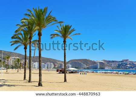 a panoramic view of the San Antonio Beach in Cullera, Spain, in the Mediterranean sea - stock photo