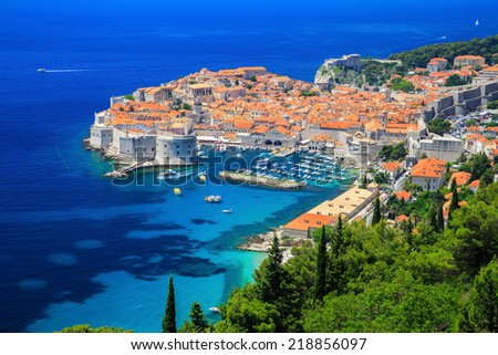 A panoramic view of the walled city, Dubrovnik Croatia - stock photo