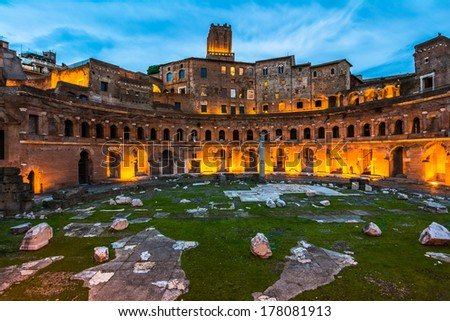 A panoramic view on Trajan's Market, a part of the imperial forum of Rome, Italy - stock photo