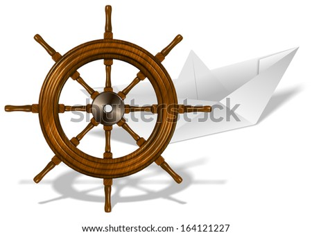 A paper boat and wooden ship wheel on white background / Paper boat and ship wheel - stock photo