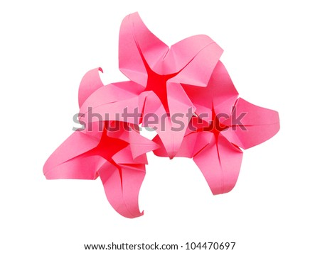 A paper flower origami isolated white - stock photo