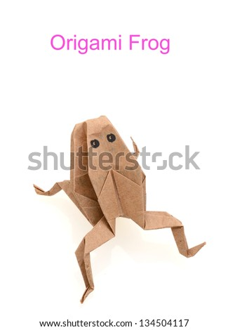 A paper frog origami, isolated on white - stock photo