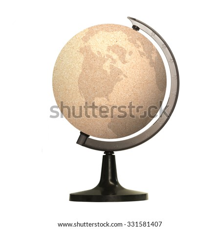 A paper globe in a stand shows isolated on white background. E-learning Education, Internet Library, World Philosophy Day, Eco Friendly, Earth Hour, CSR concept. - stock photo