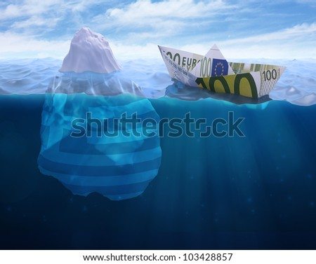 A paper ship made out of a Euro banknote heading into an greek iceberg - stock photo