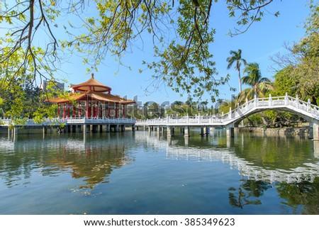 A park with beautiful lake in Tainan, Taiwan - stock photo