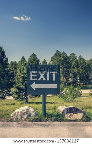 A parking lot exit sign, South Dakota - stock photo