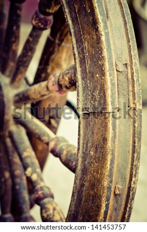 a part of old distaff closeup - stock photo