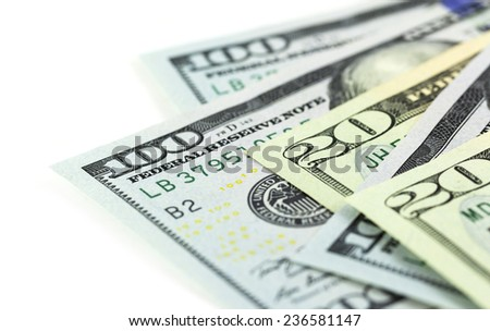 A part of US dollars on white background - stock photo