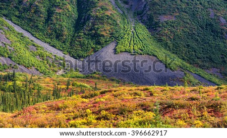 A partially vegetated talus slope leads to a large talus pile at the base of a mountain along the Denali highway in Alaska. - stock photo