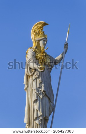 A particular of Athena Fountain (Pallas-Athene-Brunnen) in front of Austrian Parliament Building. Figures symbolize most important rivers of the Austro-Hungarian Empire. It was completed in 1902. - stock photo
