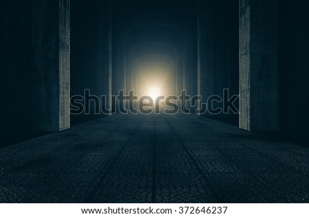 A passage in the castle to the dawn of a new day 3d rendering. - stock photo