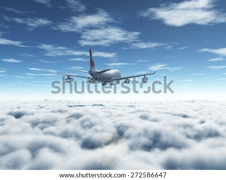 A passenger plane flying over the thick clouds - stock photo