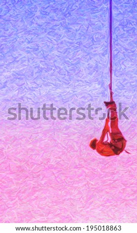 A pastel drawing of an action sports thrill seeker after jumping from a bungee platform. - stock photo