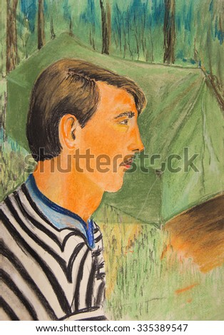A pastel drawing. Portrait of a young boy - stock photo