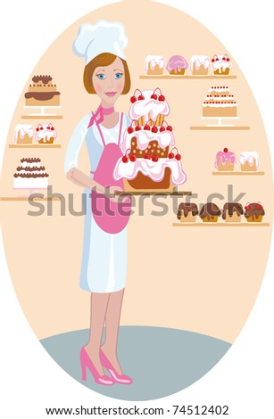 A pastry girl-cook holds a cake with cherries - stock photo