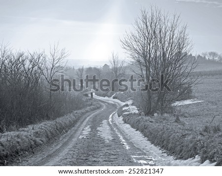 A path in the winter time. - stock photo