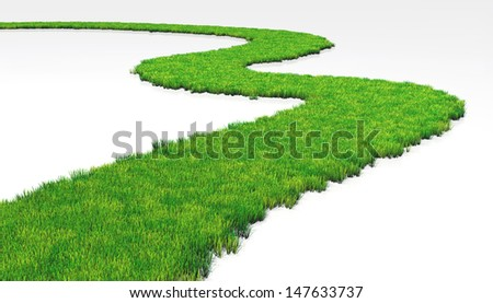 a path made of lawn that grows in a white ground, winds in a white background - stock photo