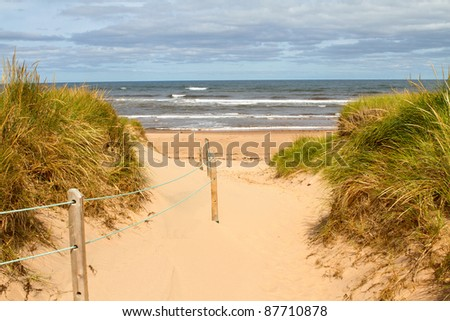 A path to the ocean in beautiful Prince Edward Island, Canada - stock photo