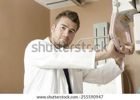 A Patient with doctor radiologist in a hospital - stock photo