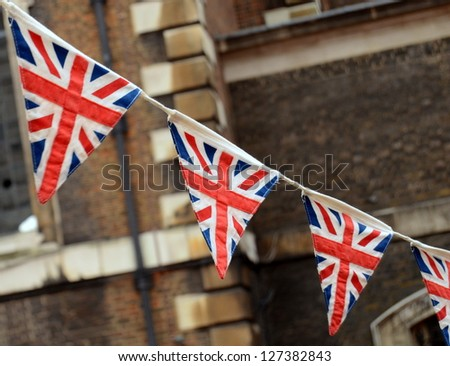 A Patriotic Image Of British Bunting At A National Event - stock photo
