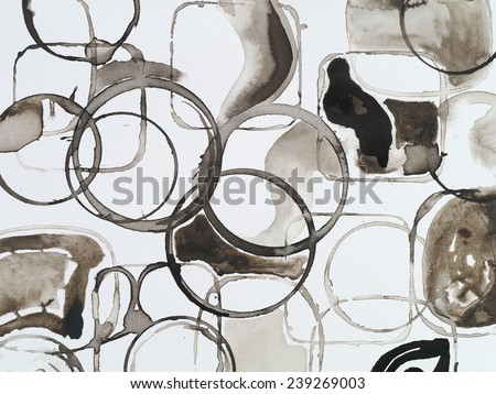 a pattern of circular ink stains - stock photo