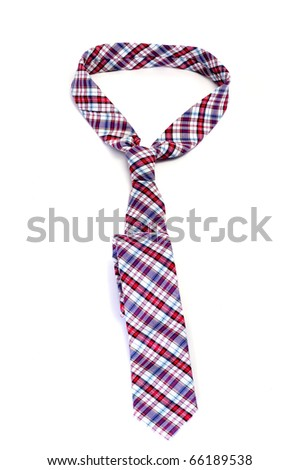 a patterned tie isolated on a white background - stock photo