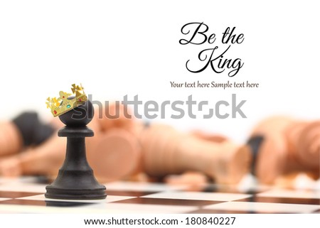 A pawn winner standing crowned as king with copy-space - stock photo