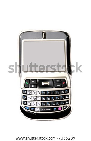 a PDA phone isolated on a white background - stock photo