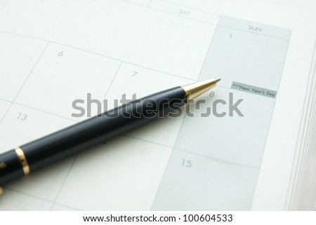 a pen on a book point at a day is New year. - stock photo