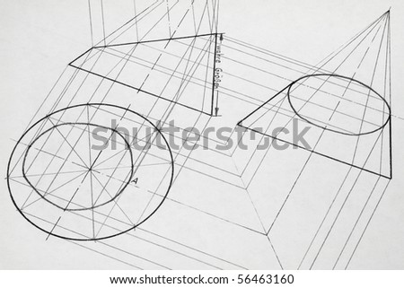 A pencil drawing created with a truncated cone. - stock photo