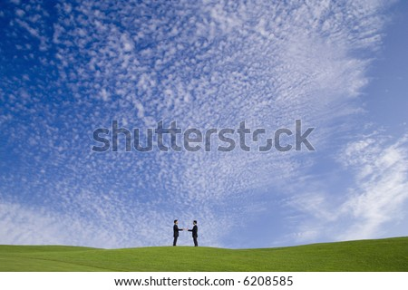 a perfect deal on a perfect landscape - stock photo