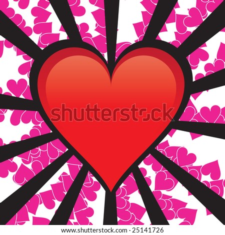 A perfect glossy heart over some burting rays in a grunge style.  All of the elements in this vector are fully editable. - stock photo